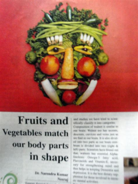 fruits  vegetables match  body parts  news