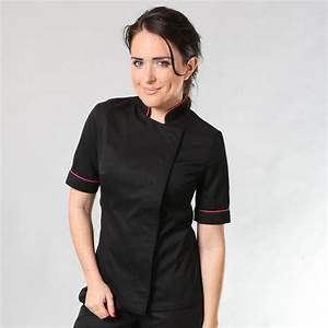 Tenue De Cuisine Femme : veste de cuisine femme noire et rose manches courtes ~ Teatrodelosmanantiales.com Idées de Décoration