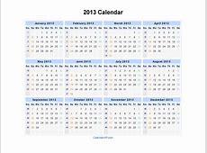 2013 Calendar Blank Printable Calendar Template in PDF