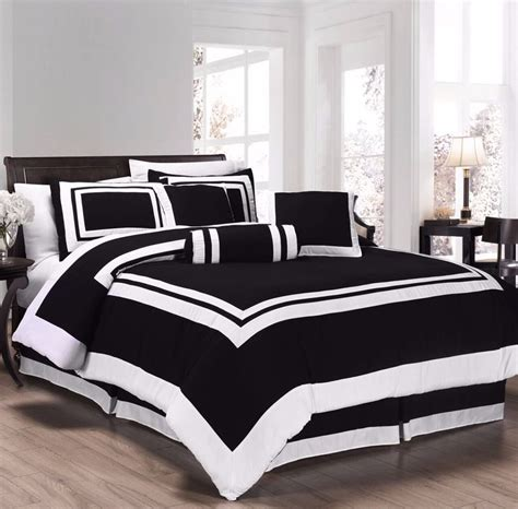 and black comforter chezmoi collection 7pc black white block hotel style