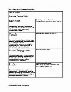 reader39s and writer39s workshop minilesson template freebie With writers workshop lesson plan template
