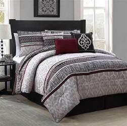 new luxurious 7 piece queen size bed comforter set bedroom bedding red gray ebay