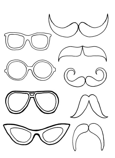 eyeglasses pair  mustache coloring pages kids play