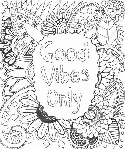 Vibes Coloring Pages Positive Drawings Drawing Attitude