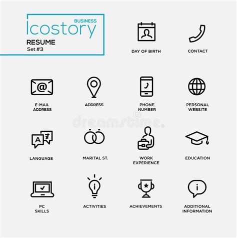 modern resume simple thin line design icons pictograms