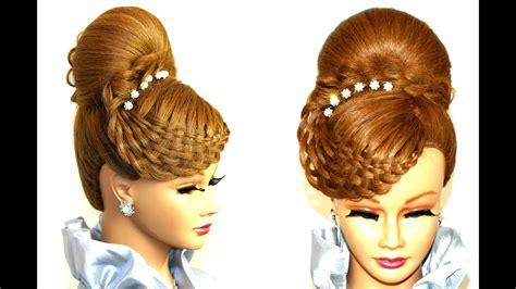 braided hairstyle  long hair bun updo youtube
