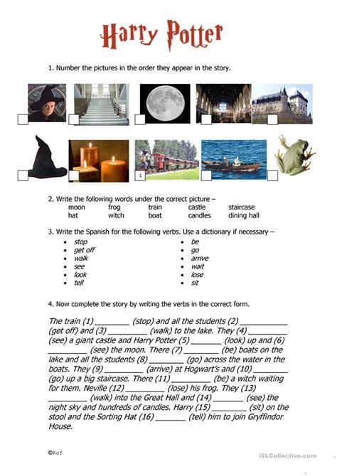 harry potter  tense worksheet  esl printable