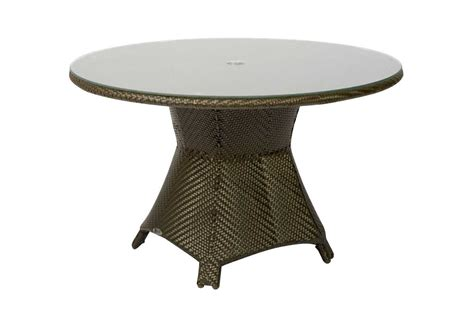 round glass patio table with umbrella hole woodard trinidad wicker 48 round glass top table with