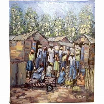 Oil Haitian Impressionist Painting Caribbean Scene Village