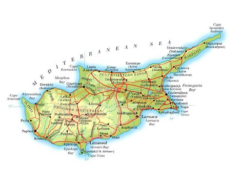 detailed elevation map  cyprus  roads cities