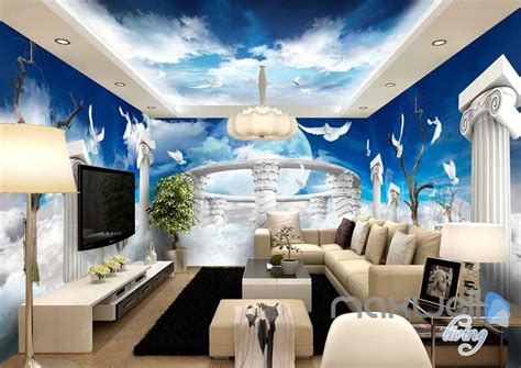 pillar heaven entire room bedroom wallpaper wall murals