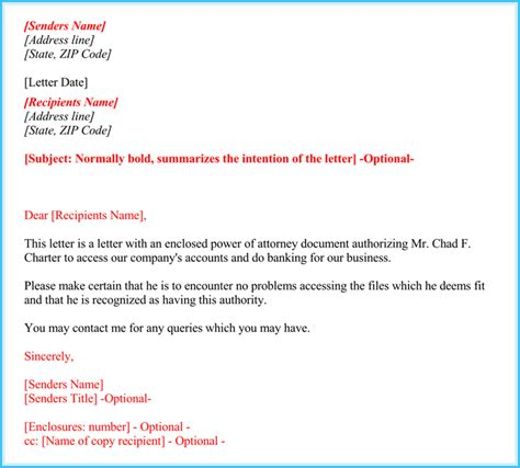 power  attorney authorization letter   format