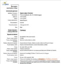 Curriculum Vitae Excel Formato Europeo by Descargar Curriculum Vitae Europeo Europass Gratis