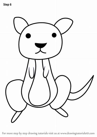 Kangaroo Draw Drawing Step Animals Learn Line