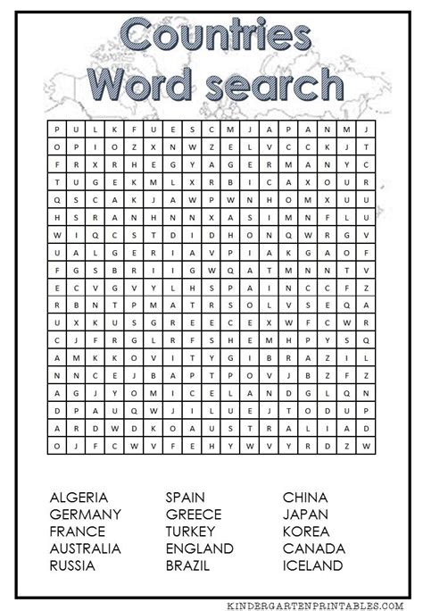 countries word search  printable word puzzles word