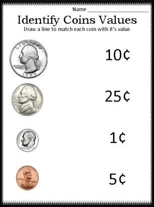 Identify Coin Values  Math  Money Worksheets, Worksheets, Math