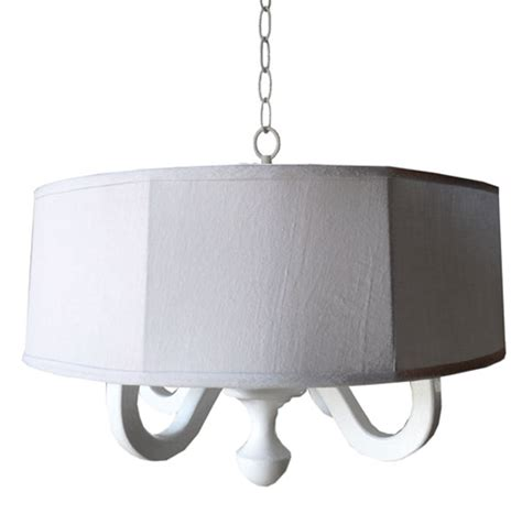 white linen drum chandelier by charn company