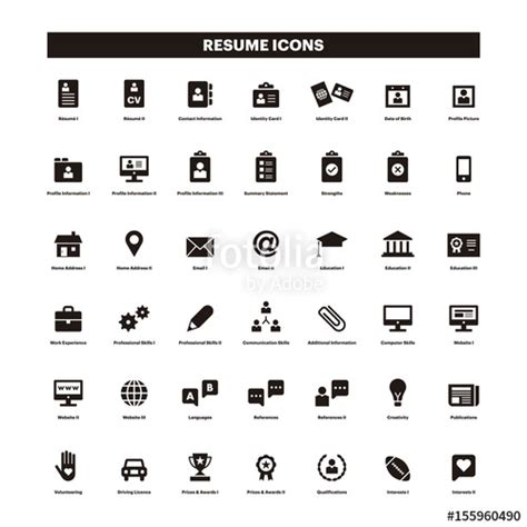 quot cv resum 233 black solid icons quot stock image and royalty