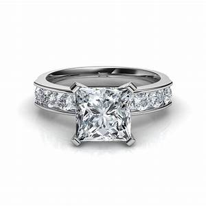 Channel set princess cut diamond engagement ring in 14k for Diamond wedding ring settings