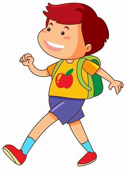 Walking Boy Vector Backpack Freepik Clipart Graphics