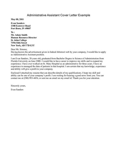 Cover Letter Administrative Assistant Template by Administrative Assistant Resume Cover Letter