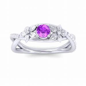 purple amethyst diamond flower wedding ring women 18k With purple wedding rings for women