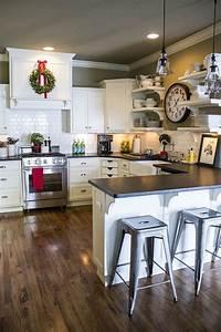 la cuisine en u avec bar voyez les dernieres tendances With kitchen colors with white cabinets with christmas stickers for photos