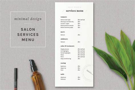 salon menu designs  examples psd al examples