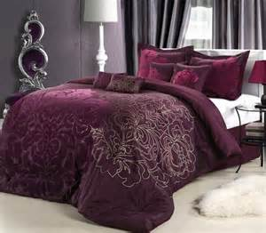 8pc plum purple oversized floral comforter set queen king cal king ebay