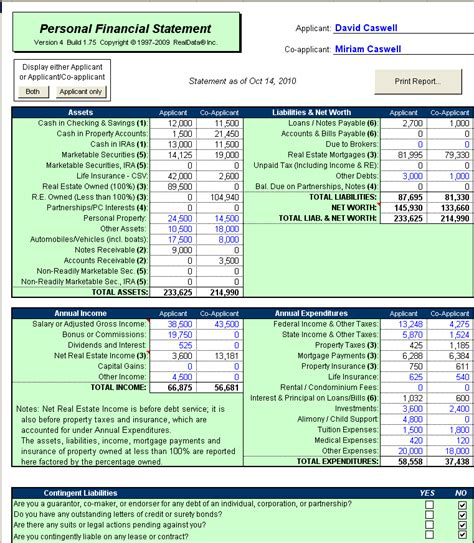 personal financial statement software