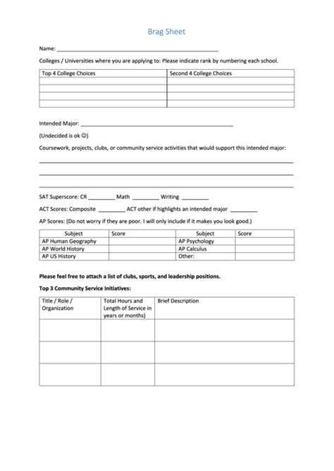 fillable brag sheet form printable pdf download
