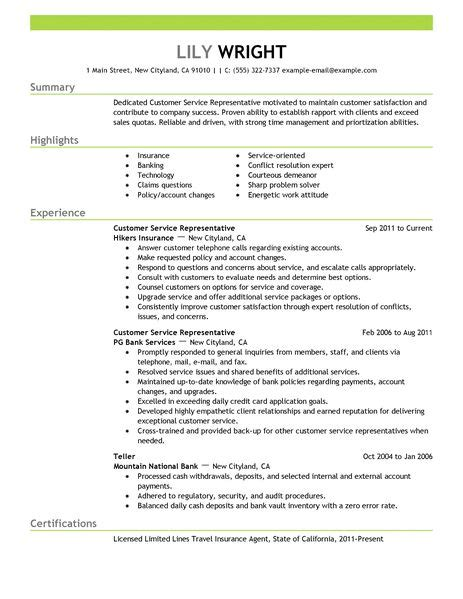 simple customer service representative resume exle