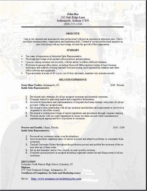 Resume Sles by Sales Resume Occupational Exles Sles Free Edit With Word