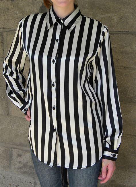 satin black white stripe blouse