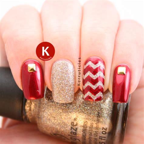 luminous red  gold nail designs  modish