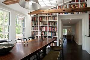 salle a manger moderne avec bibliotheque en 25 exemples With salle À manger contemporaine avec objet decoratif a suspendre