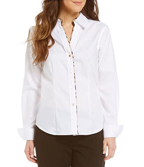 White Long-Sleeve - Calvin Klein Leopard Trim Oxford Shirt