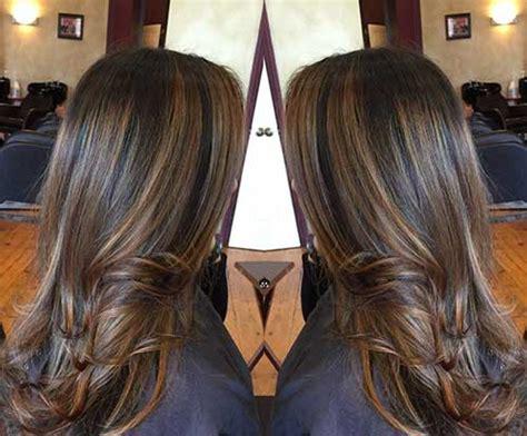 Dark Brown Hair With Caramel And Burgundy Highlights