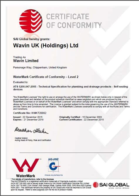 sai certificate  conformity  australian standard ats hepvo
