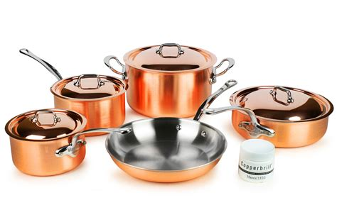 mauviel ms tri ply copper cookware set  piece cutlery