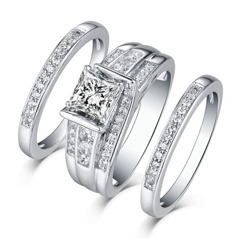 princess cut 925 sterling silver white sapphire 3 ring sets lajerrio jewelry