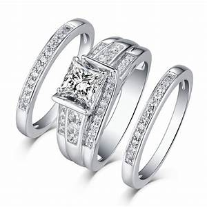 Ring Set Silber : princess cut 925 sterling silver white sapphire 3 piece ring sets lajerrio jewelry ~ Eleganceandgraceweddings.com Haus und Dekorationen