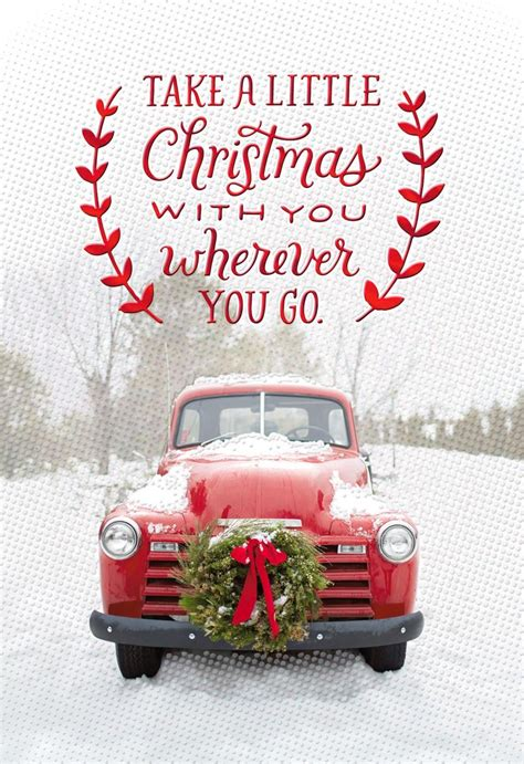 vintage red pickup truck christmas card greeting cards