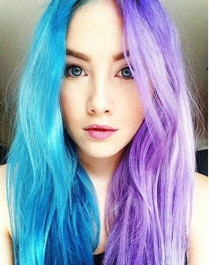 Half Blue Half Purple Hair Colorful Hair Hair Dyed