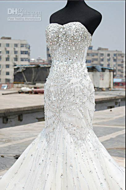 luxury crystal wedding dress real photo mermaid