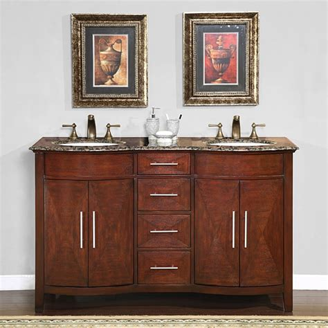 Silkroad Exclusive Double Sink 58inch Granite Top Vanity