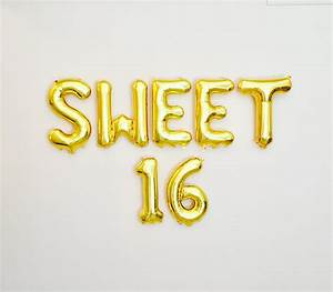sweet 16 balloon letter banner sweet 16 balloon16th birthday With 16 balloon letters