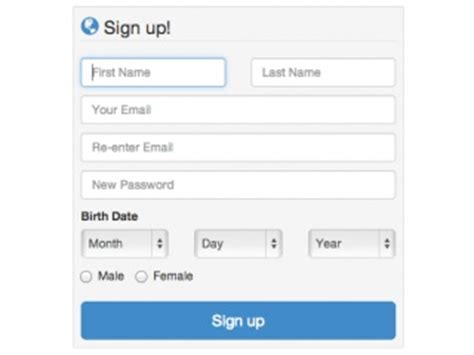 bootstrap signup exles