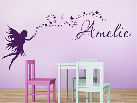 Wandtattoo Fee Mit Namen wandtattoo zaubernde fee mit name bei homesticker de