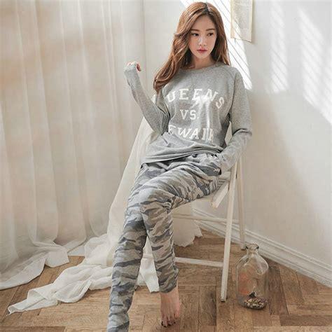 New 2015 Autumn Winter Womens Pajama Sets O Neck Long